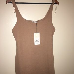 ZARA TRAFALUC Light brown tight fitting dress